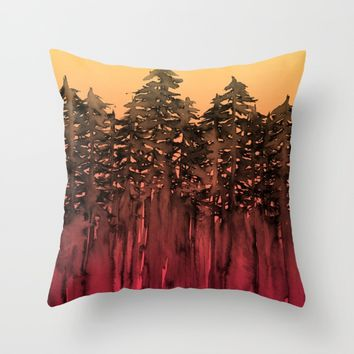 FOREST THROUGH THE TREES 12 Hot Pink Magenta Orange Black Landscape Ombre Abstract Painting Outdoors Throw Pillow by EbiEmporium