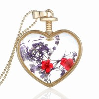 Women Dry Flower Heart Glass Wishing Bottle Pendant Necklace crystal Necklace