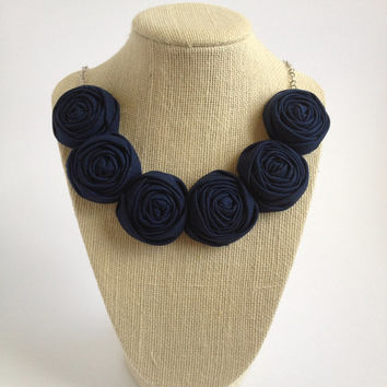 Navy blue fashion fabric six flower rose rosette bib necklace silver chain gift bridesmaid teacher statement piece