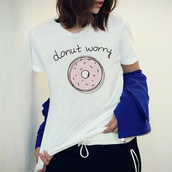 East Knitting F1762 2017 New Arrival  Women Tshirt   White Tops The Pink Donut Worry Printed Short Sleeve Harajuku Tees
