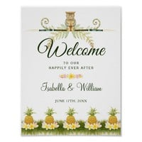 Welcome Sign | Elegant Tropical Summer Wedding