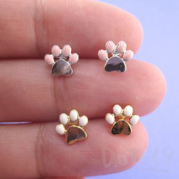 Tiny Paw Cat Dog Toebeans Shaped Stud Earrings in Silver or Gold