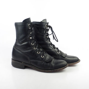Roper Boots Vintage 1980s Justin Leather  Black Granny Lace up Packer Women's size 5 B