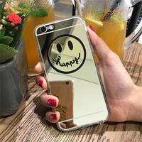 "Smiling Face Mirror Electroplating Soft Case For iphone 6 6S 4.7"" / 6 6S Plus 5S 5 SE"
