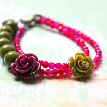 Romantic Rose Bracelet in Pink and Olive Green with Semiprecious Gemstones - Roses on your Wrist