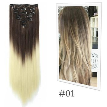 (US in stock)GO GO! Girl Balayage Brown to Blonde Remy Ombre Clip In Hair Extensions Full Head 7pcs Clip in Hairpieces