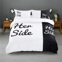 Lover Bedding Set for Valentines Day Home Use Black and White Color Her Side His Side Bedding Set