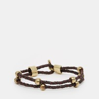 Icon Brand Dollar Sign Plaited Leather Bracelet