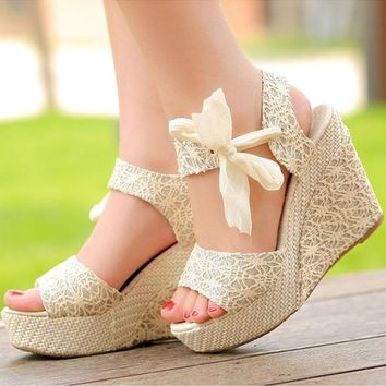 Summer Womens Sweet High Heel Wedge Platform Sandals Bowknot Ankle Shoes Beige = 19321