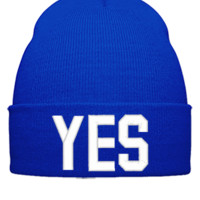 YES EMBROIDERY HAT - Beanie Cuffed Knit Cap