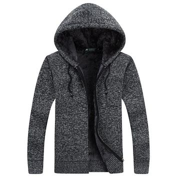 Jacket Men Thick Velvet Cotton Hooded Fur Jacket Mens Winter Padded Knitted Casual Sweater Cardigan Coat Autumn Outdoors Parka