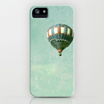 Vintage Red, White, and Blue Hot Air Balloon on Robin's Egg Blue iPhone & iPod Case by Brooke Ryan Photography