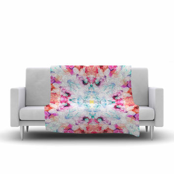 "Danii Pollehn ""Hibiscus Kaleidoscope"" Pink Blue Fleece Throw Blanket"