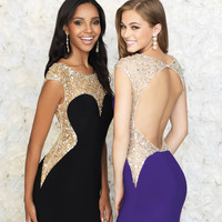Black Deep Sweetheart Jeweled Cut Out Gown