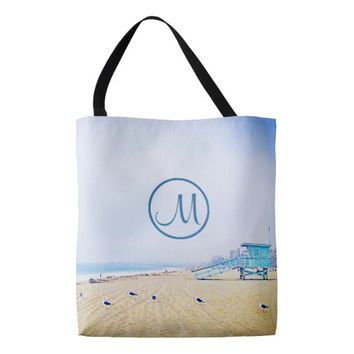 Aqua sky beach photo custom monogram tote bag