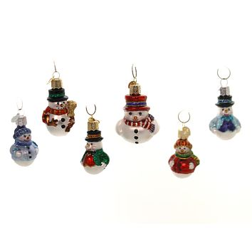 Old World Christmas MINI SNOWMAN SET Glass Ornaments Frosty  St/6 14022