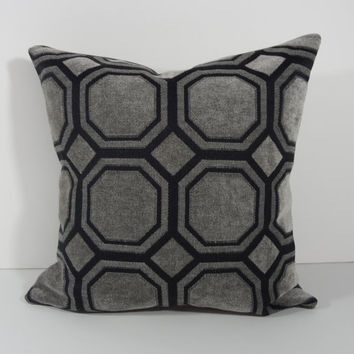 Geometric Black and Grey Pillow Cover, Cushion Cover, 16 x 16