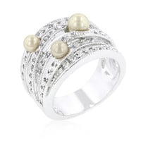 Champagne Pearl Cocktail Ring, size : 05