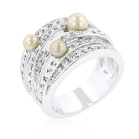 Champagne Pearl Cocktail Ring, size : 10