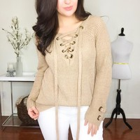 Tan Knit Lace Up Sweater