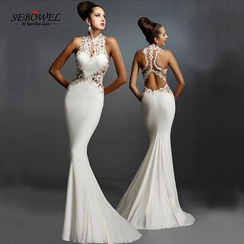 SEBOWEL 2016 Women Formal Dresses Bride Wear Red Open Back Floor Length Dresses Fishtail Sexy Elegant Floral Lace Maxi Dresses