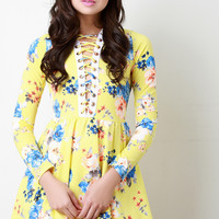 Plunging V Laced Floral Print Longsleeve Dress