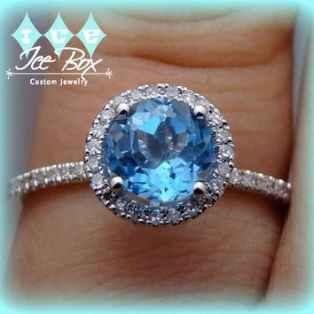 Topaz Engagement Ring Round Swiss Blue Topaz in a  10K White Gold Diamond Halo Setting