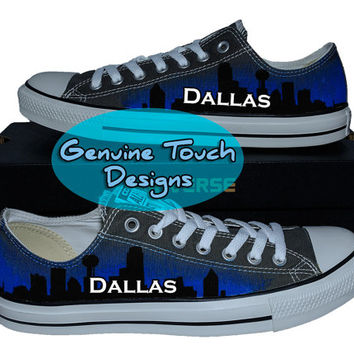 Hand Painted Converse, Dallas shoes, Skyline, Texas, Custom converse, Birthday Gifts, Christmas Gifts, Art work shoes
