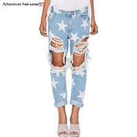 2017 Hot Explosion Models Fashion Women Jeans Casual Ladies Hole Jeans Stars Printing Straight Denim Ripped Jeans For Women 1005