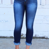 Frayed Hem Dark Denim Skinnies