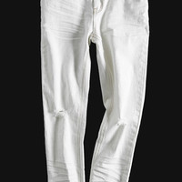 White Skinny Cropped Jeans - Low Rise 7/8 Length
