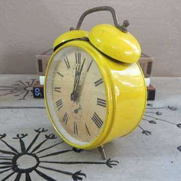 Yellow Alarm Clock Retro Clock Forestville Alarm Clock West Germany Bedside Clock Desk Clock Funky Clock Metal Clock Wind Up Clock
