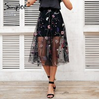 Embroidery Mesh Transparent Long Skirt