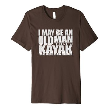 Mens An Old Man On Kayak T-shirt 40th Birthday Gift Dad Fisherman