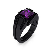 Mens Modern 14k Black Gold 2.0 Carat Princess Amethyst Black Diamond Wedding Ring R1020M-14KBGBDAM