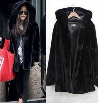 DCCKL72 ooded Jacket Large fur collar long dress jacket