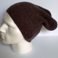 Handknitted men's slouchy beanie hat. Adult or teenager. Fawn and brown marl. OOAK