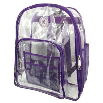 "Super Heavy Duty Clear Backpack Durable 0.5mm Vinyl Completely See Through Daypack 17"" Transparent Student School Bookbag"