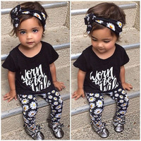 Kids Toddler Baby Girls Tops+Pant+Headband 3pcs