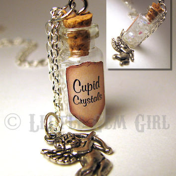 Cupid Crystals- Swarovski Glass Bottle Cork Necklace - Love Spell Marriage Valentine - Potion Vial Charm - Magic
