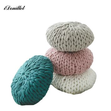 iDouillet Chunky Knit Throw Pillow Large Decorative Cushion Fall Round Pillows with Insert Pink Green Beige Kakhi Housewarming