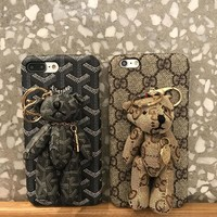 gucci goyard bear pu mobile phone shell iphone phone cover case for iphone 8 8plus iphone6 6s 6plus 6s plus iphone 7 7plus