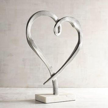 Modern Heart on Marble Base