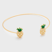 Delicate Pineapple Wire Gold Cuff Bangle Bracelet - Pearl