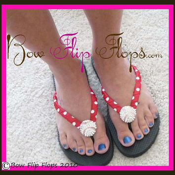 Baseball Bling Rhinestone Flip Flops- in Red, White and Black