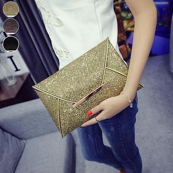 Simple Fashion Women Envelope Clutch Bag Solid Color Leather Glitter Purse Party Delicate Handbag Ladies Wedding Bags LB