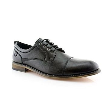 Men's Urban Textured Cap Toe Lace Up Oxfords Dress Shoes