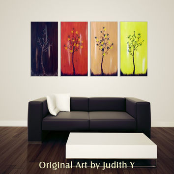 "Tree Painting 50% OFF-Huge Four Season Trees Original Abstract Money Tree painting For Luck Wall Hanging Canvas Art -Use code ""WINTERSALE"""