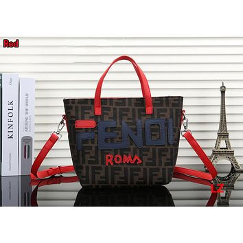 FENDI Hot Fashionable Women Leather Handbag Tote Shoulder Bag Crossbody Satchel Red