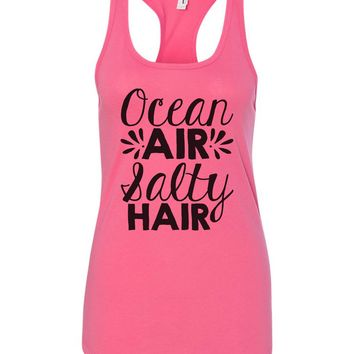 Womens Ocean Air Salty Hair Grapahic Design Fitted Tank Top